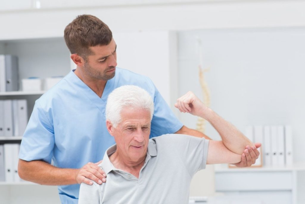 patient with a physiotherapist